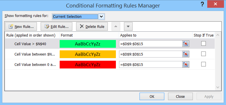 conditional formatting with three rules
